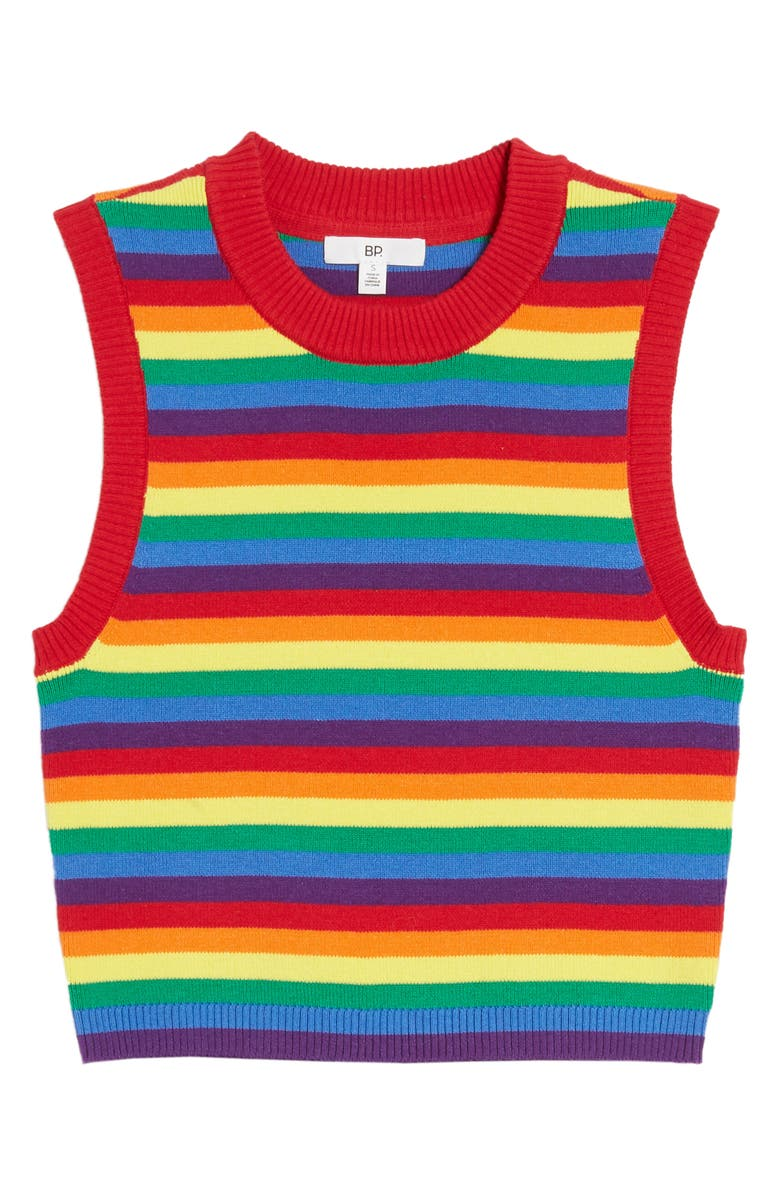 BP. Be Proud by BP. Gender Inclusive Stripe Crop Sweater Tank, Main, color, RED RAINBOW STRIPE