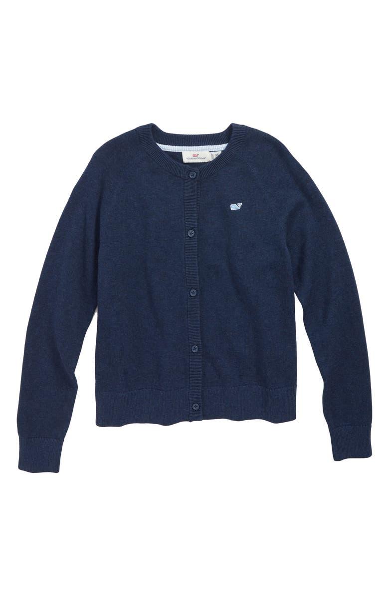 VINEYARD VINES Cotton Cardigan, Main, color, DEEP BAY