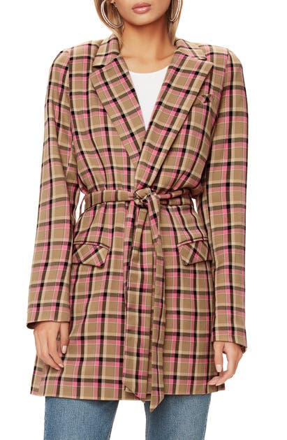 Afrm COSA BELTED PLAID BLAZER