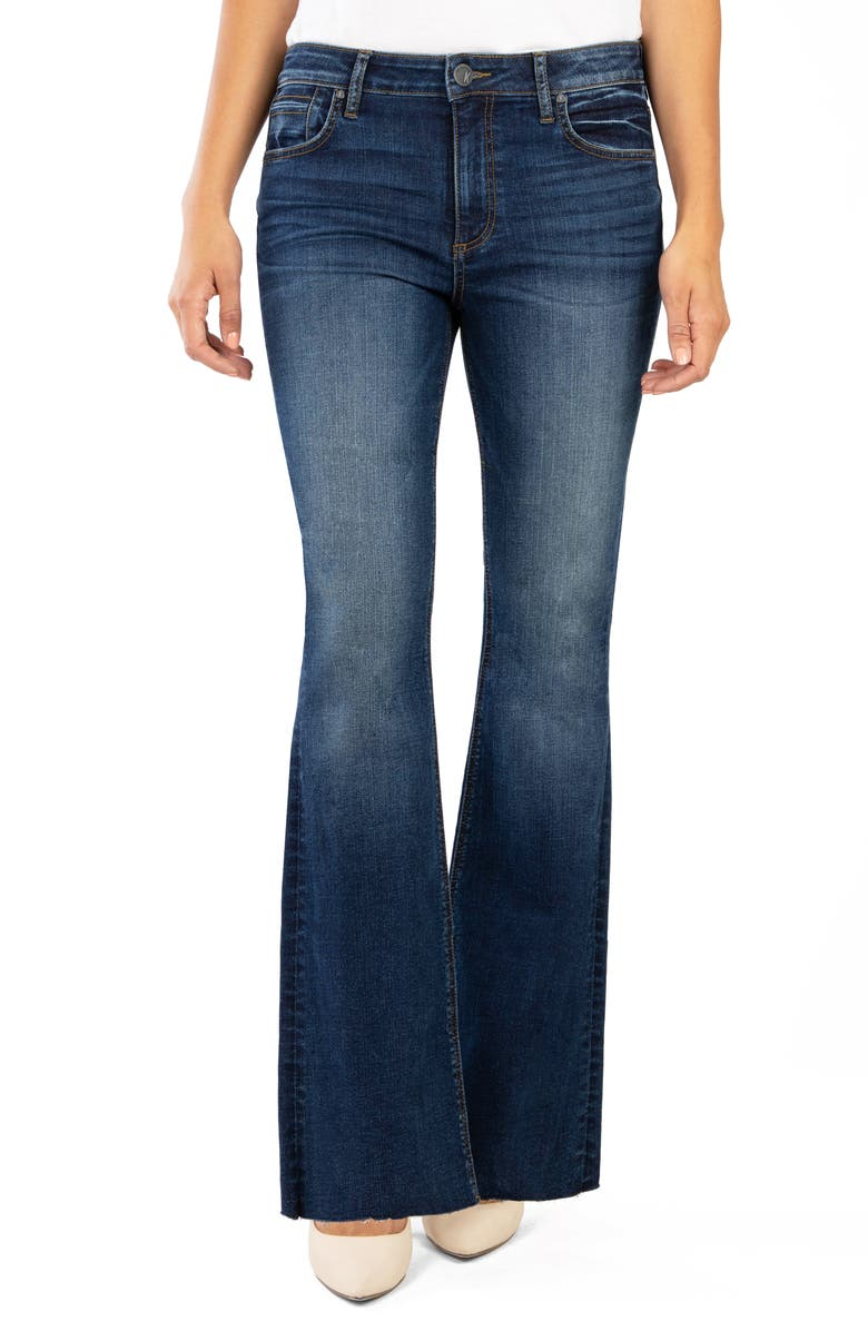 KUT FROM THE KLOTH Stella High Waist Raw Hem Flare Jeans, Main, color, ATTRACTIVE