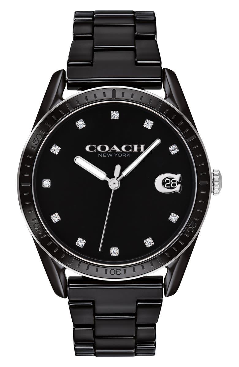 COACH Preston Ceramic Bracelet Watch, 36mm, Main, color, BLACK