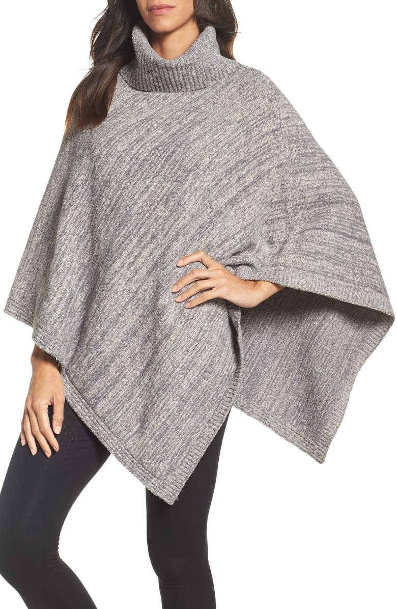 BAREFOOT DREAMS<SUP>®</SUP> Cozychic<sup>®</sup> Point Dume Poncho, Main, color, GRAPHITE/ STONE HEATHERED
