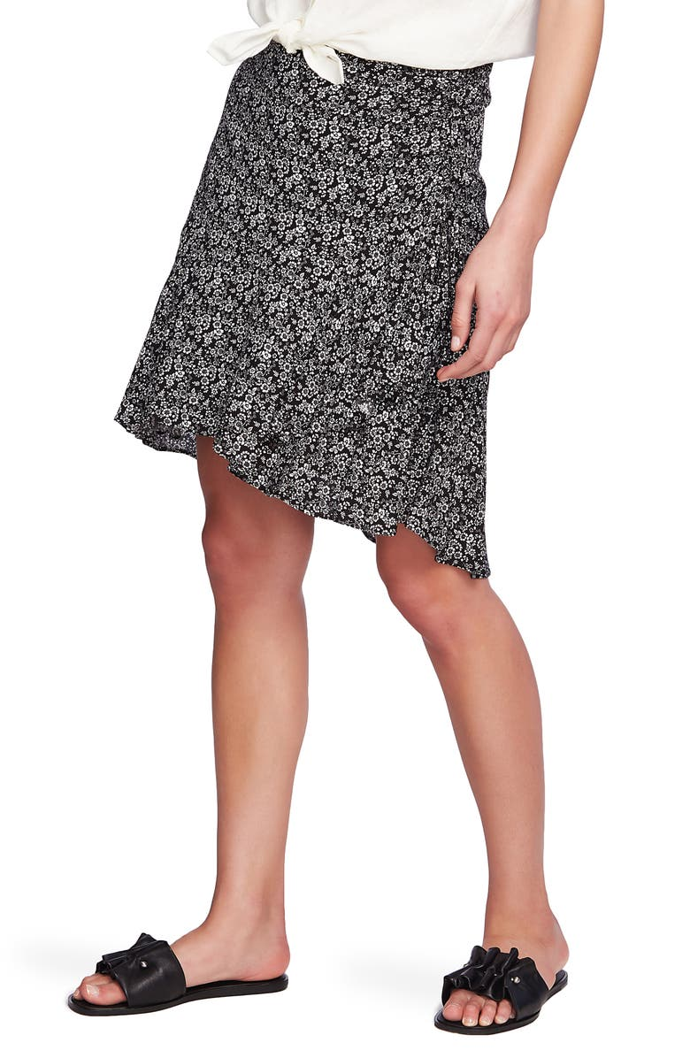1.STATE Ditsy Floral Ruched Miniskirt, Main, color, 001