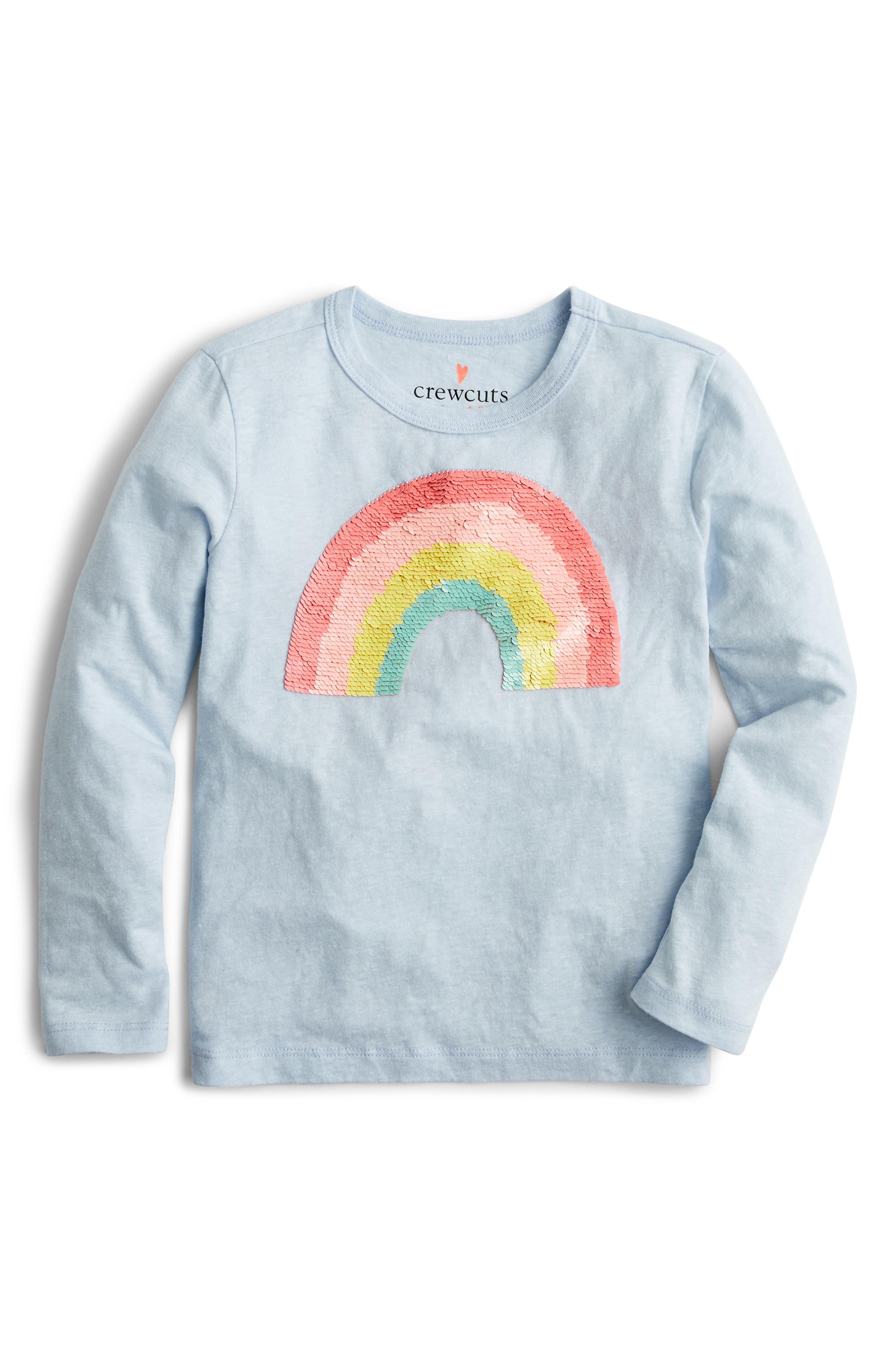 Girls Crewcuts By Jcrew Long Sleeve Flippable Sequins Rainbow Tee