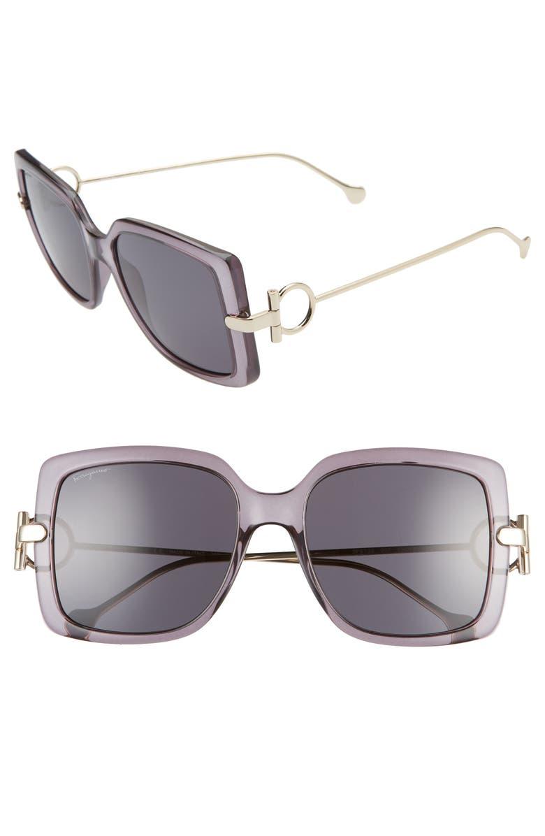 SALVATORE FERRAGAMO Gancio 55mm Square Sunglasses, Main, color, 020