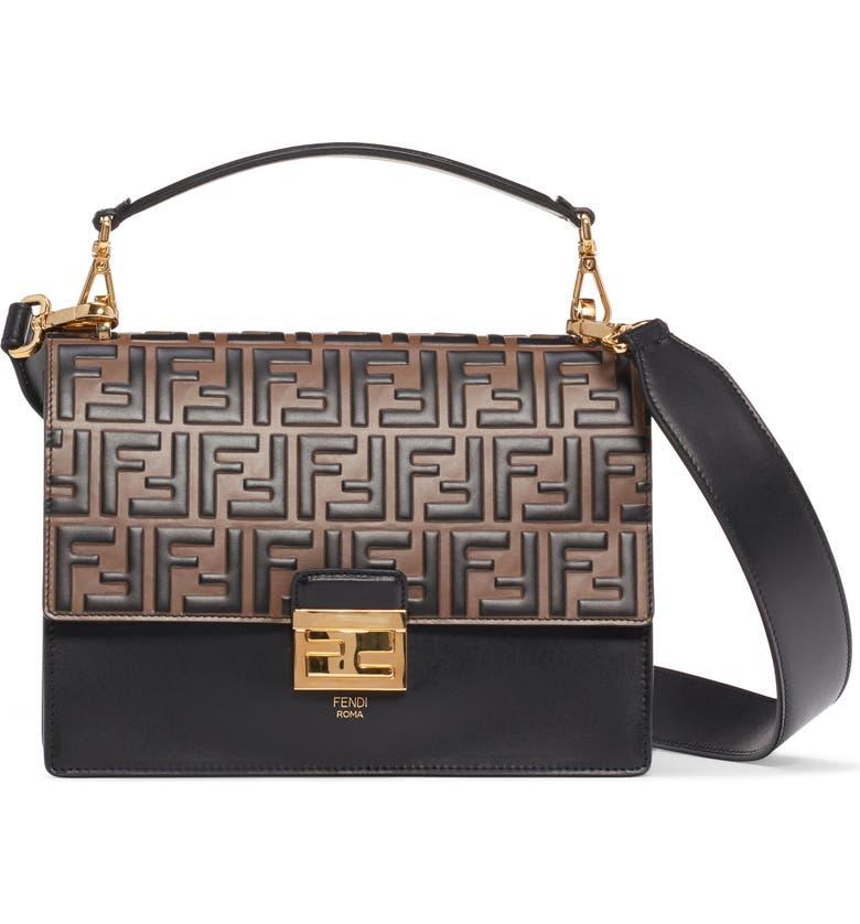 FENDI Medium Kan U Logo Leather Shoulder Bag, Main, color, 004