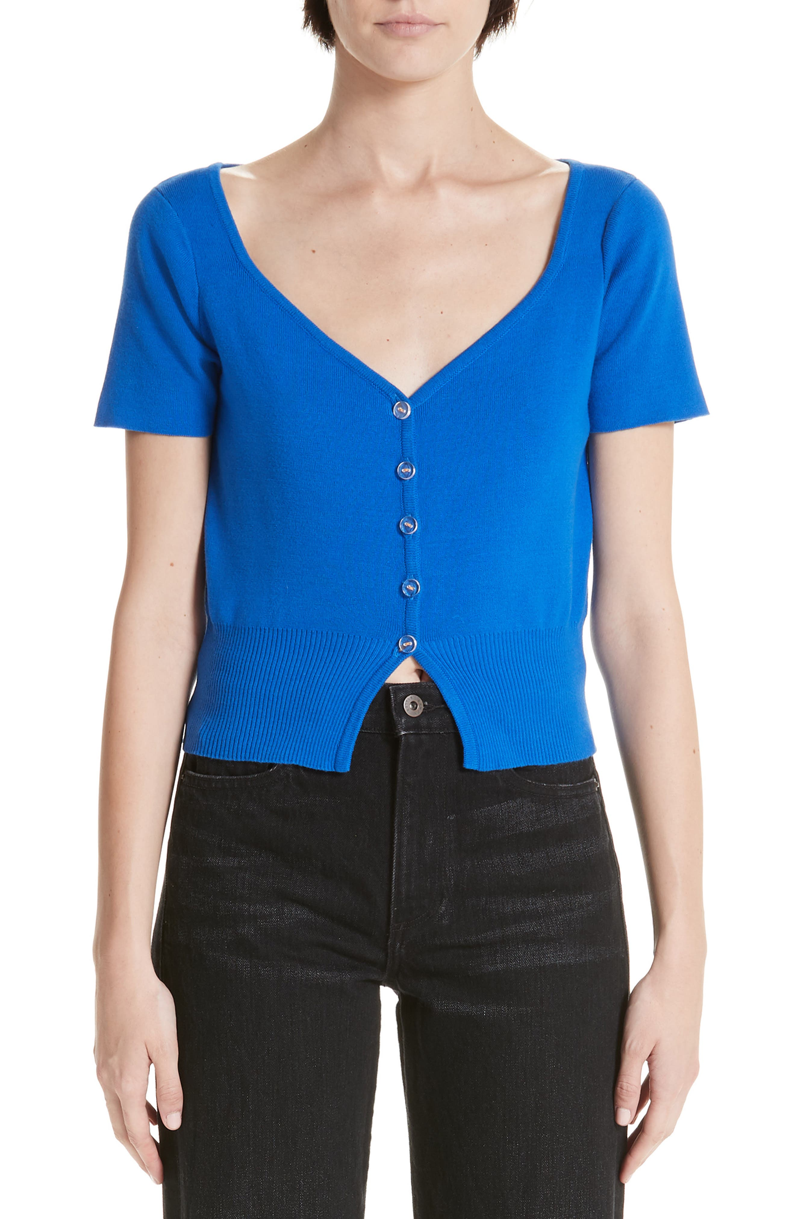 Simon Miller Senoia Fitted Crop Cardigan, Blue