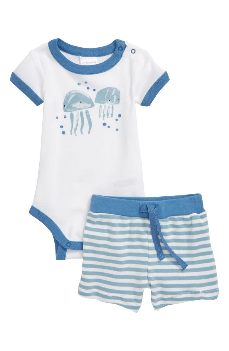NORDSTROM BABY Bodysuit & Shorts Set, Main, color, WHITE- BLUE JELLYFRIENDS