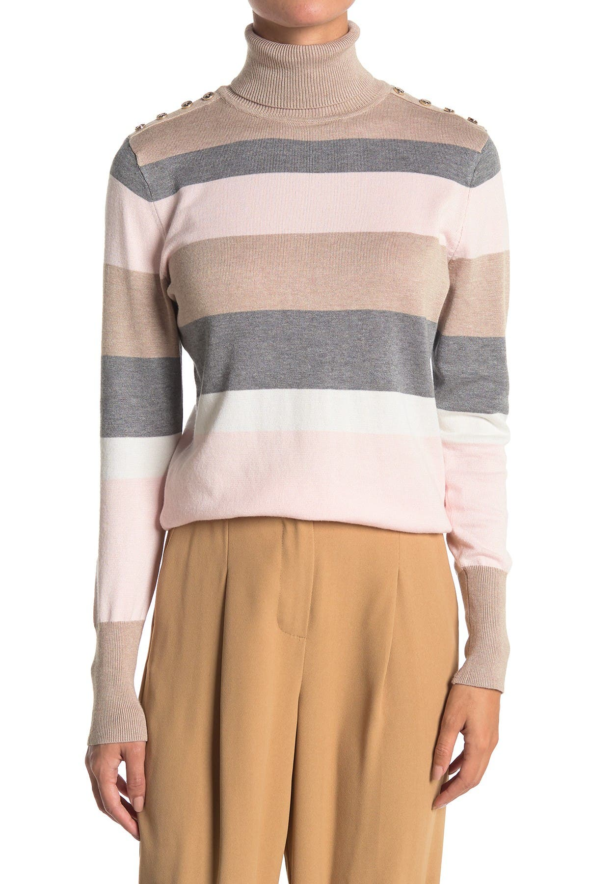 Image of JOSEPH A Striped Knit Turtleneck Sweater