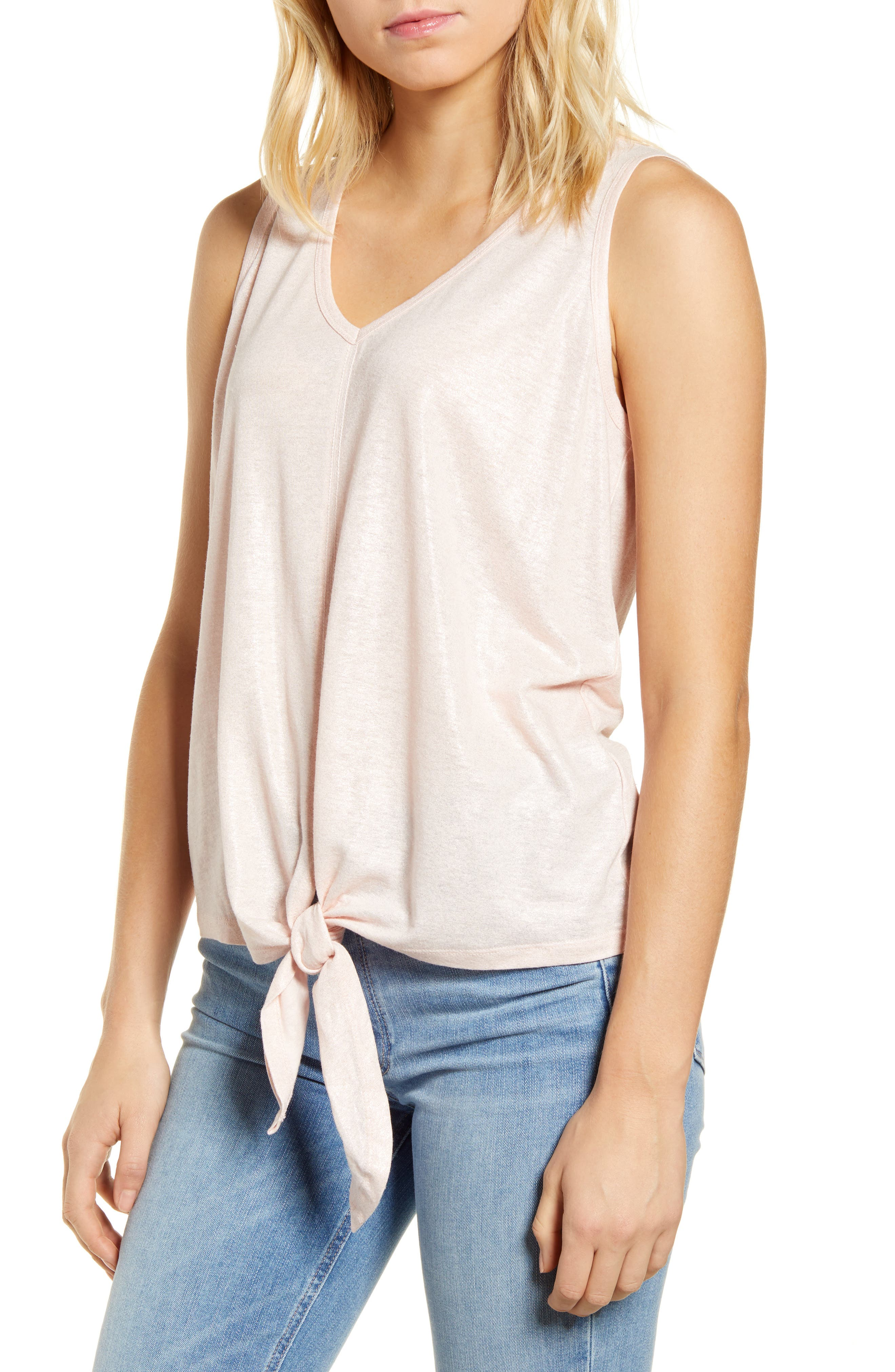 A tied waist shapes this drapey top, done in lustrous foiled jersey in a summery, sleeveless silhouette. Style Name: Wit & Wisdom V-Neck Tie Waist Shimmer Sleeveless Top (Plus Size) (Nordstrom Exclusive). Style Number: 6011211. Available in stores.
