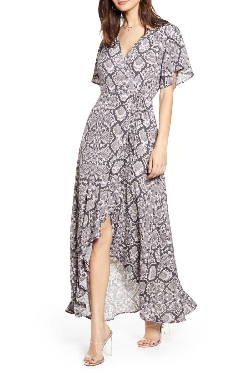 LEITH Long Languid Dress, Main, color, GREY MARBLE SNAKESKIN