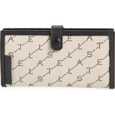 Stella Mccartney Stitched Logo Continental Wallet - Beige