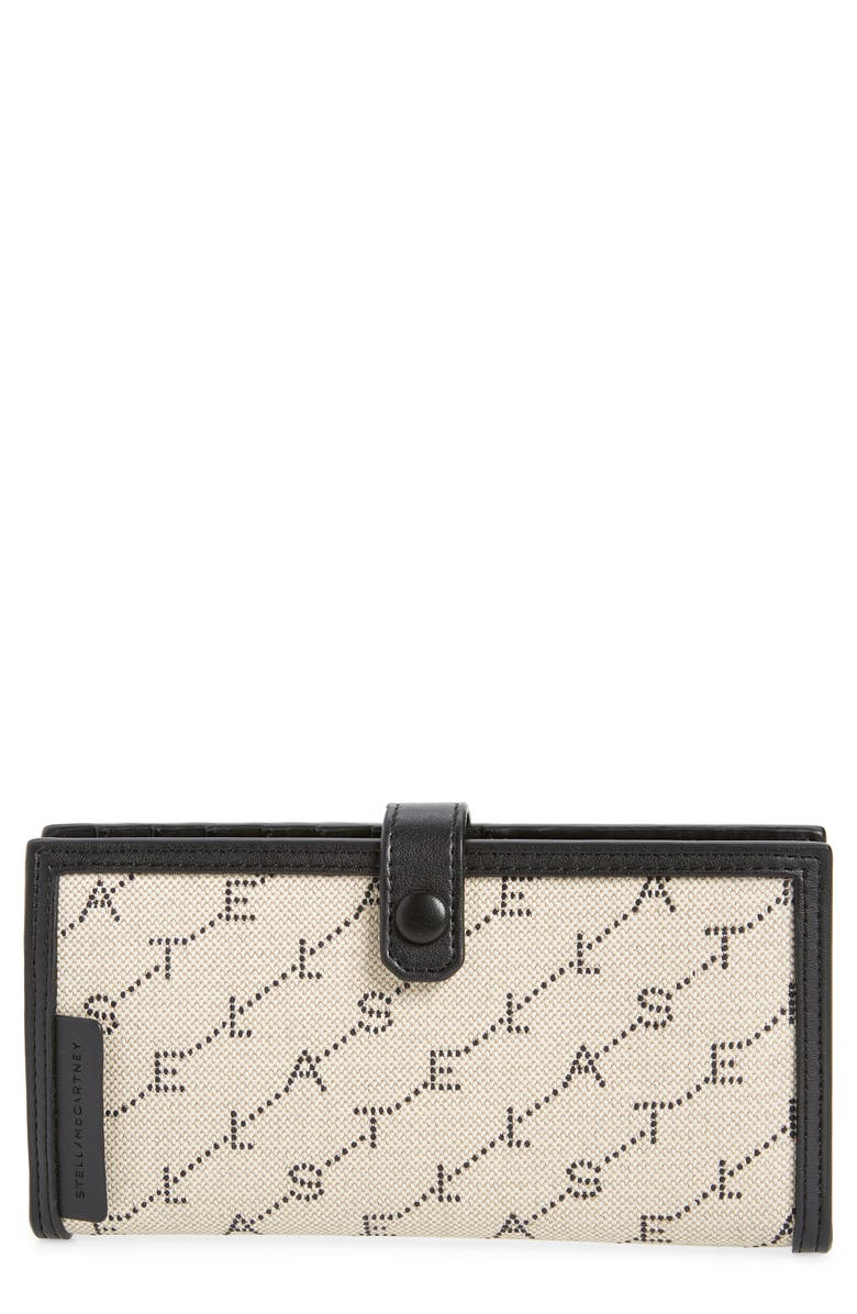 STELLA MCCARTNEY Stitched Logo Continental Wallet, Main, color, SAND