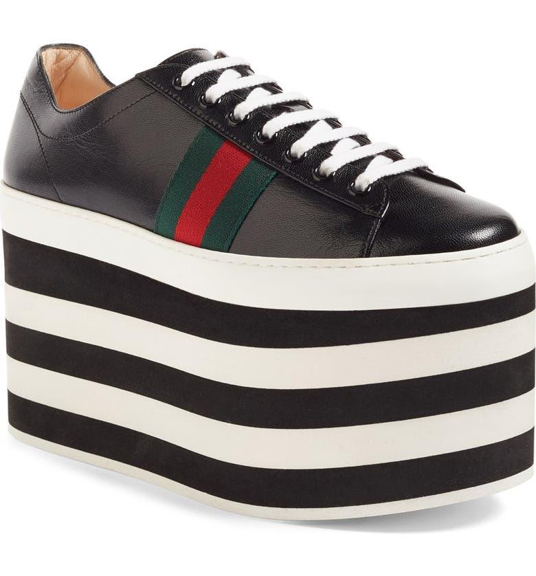 GUCCI Peggy Platform Sneaker, Main, color, 001