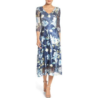 Petite Komarov A-Line Dress, Blue