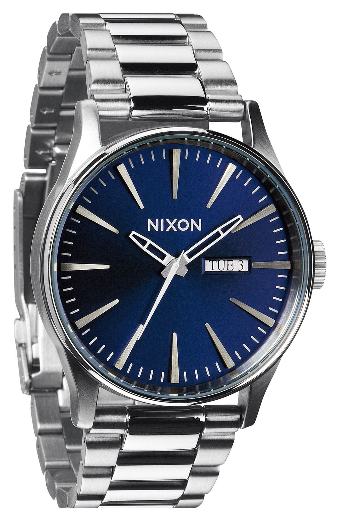 ,                             Sentry Bracelet Watch, 42mm,                             Main thumbnail 1, color,                             SILVER/ BLUE SUNRAY