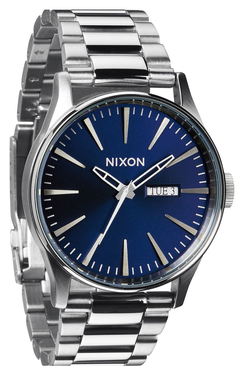 NIXON Sentry Bracelet Watch, 42mm, Main, color, SILVER/ BLUE SUNRAY