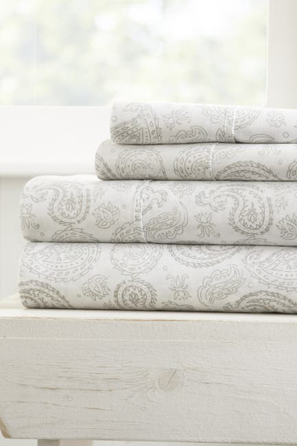 Image of IENJOY HOME The Home Spun Premium Ultra Soft Coarse Paisley Pattern 4-Piece King Bed Sheet Set - Gray
