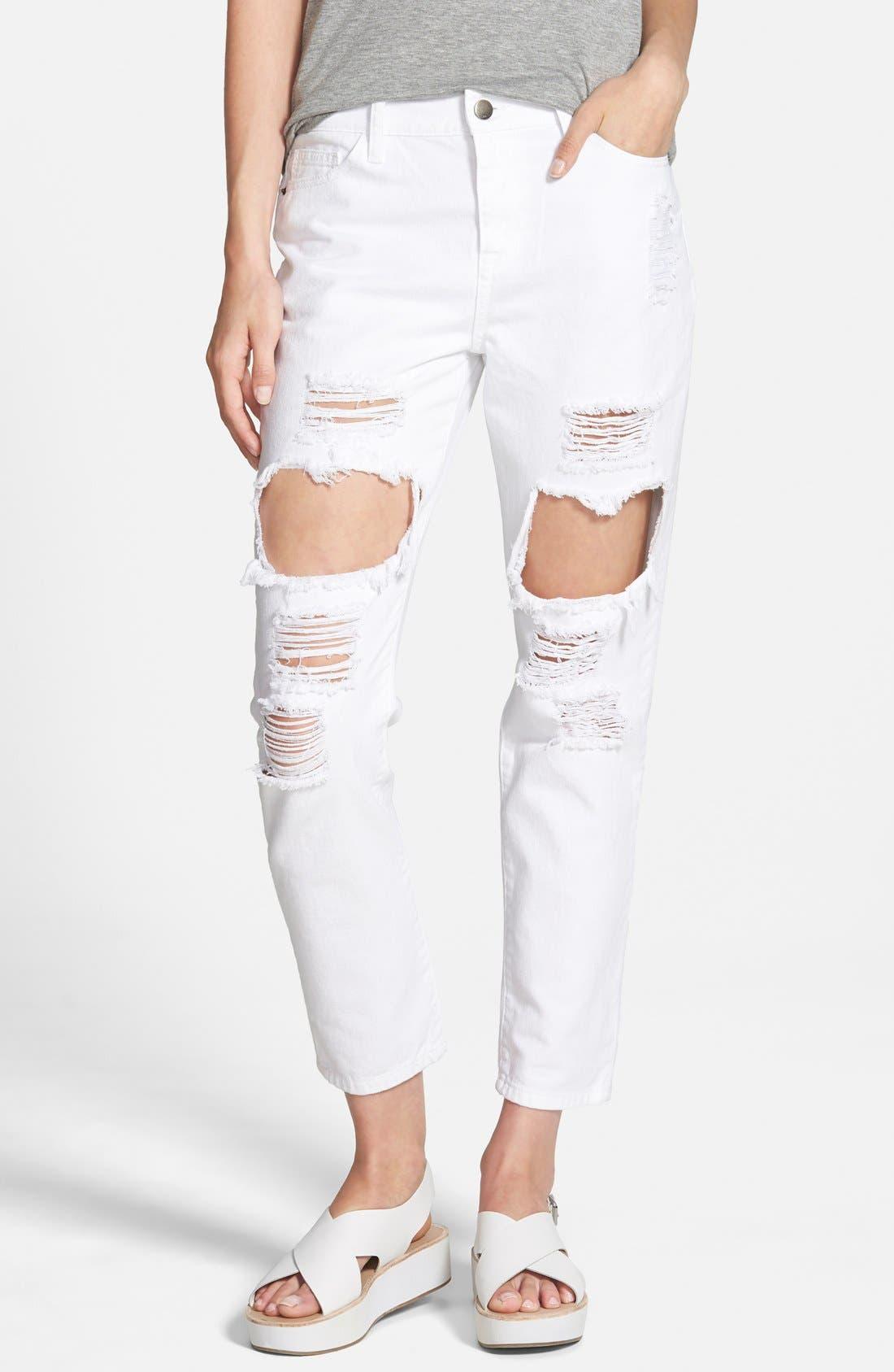 Destroyed Boyfriend Jeans, Main, color, 100
