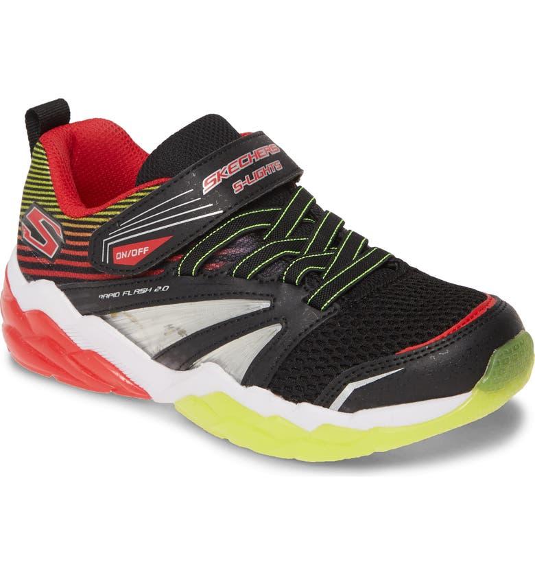 SKECHERS Rapid Flash 2.0 Sneaker, Main, color, BLACK/ RED