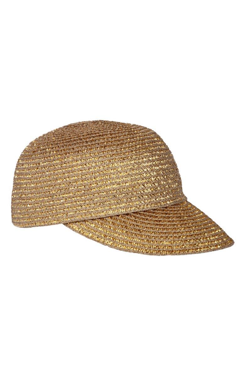ERIC JAVITS Mondo Woven Cap, Main, color, GOLD