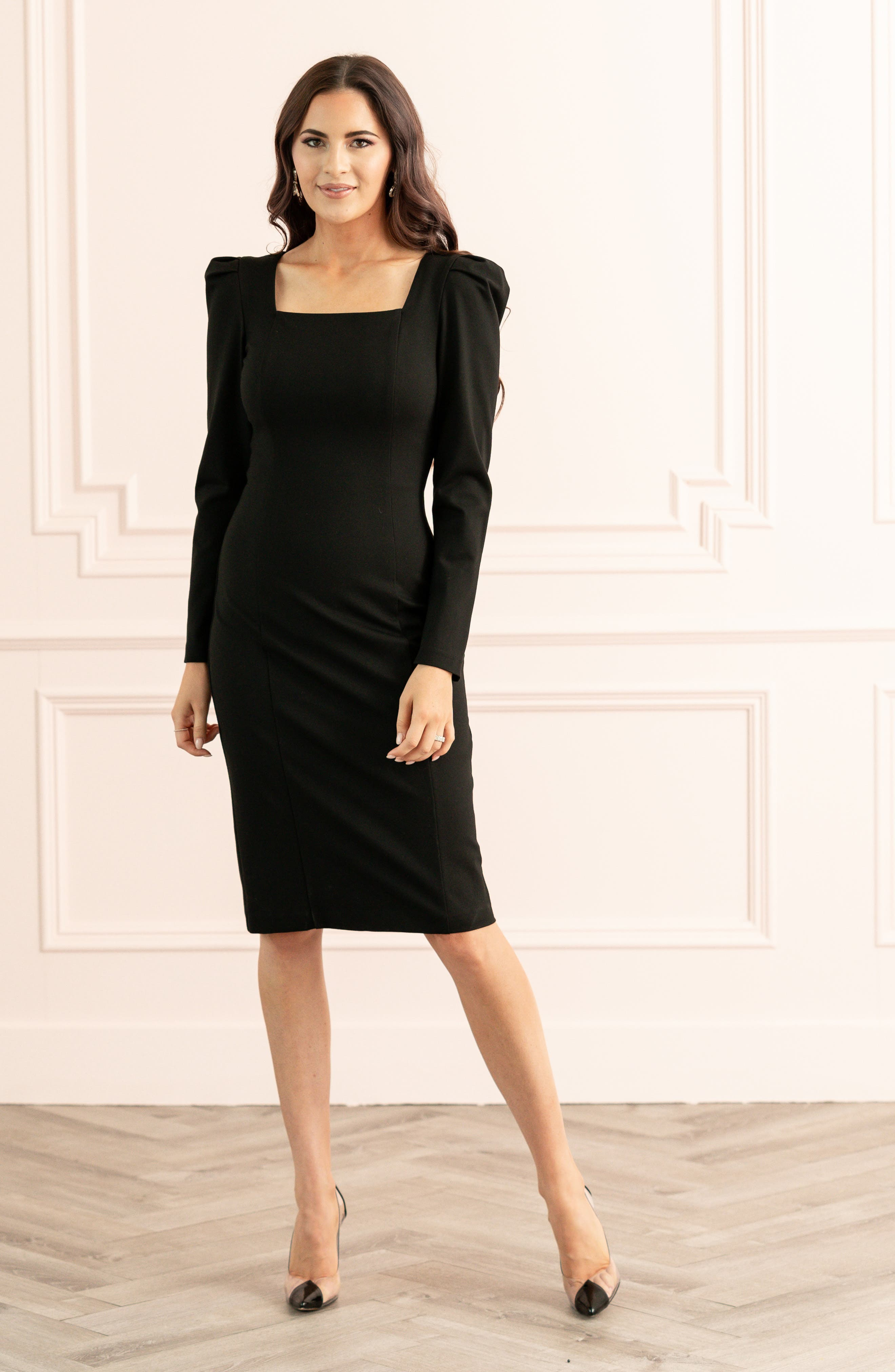 Rachel Parcell Square Neck Long Sleeve Ponte Dress (Nordstrom Exclusive)