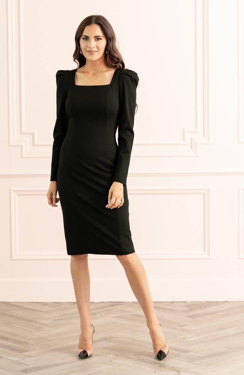RACHEL PARCELL Square Neck Long Sleeve Ponte Dress, Main, color, BLACK