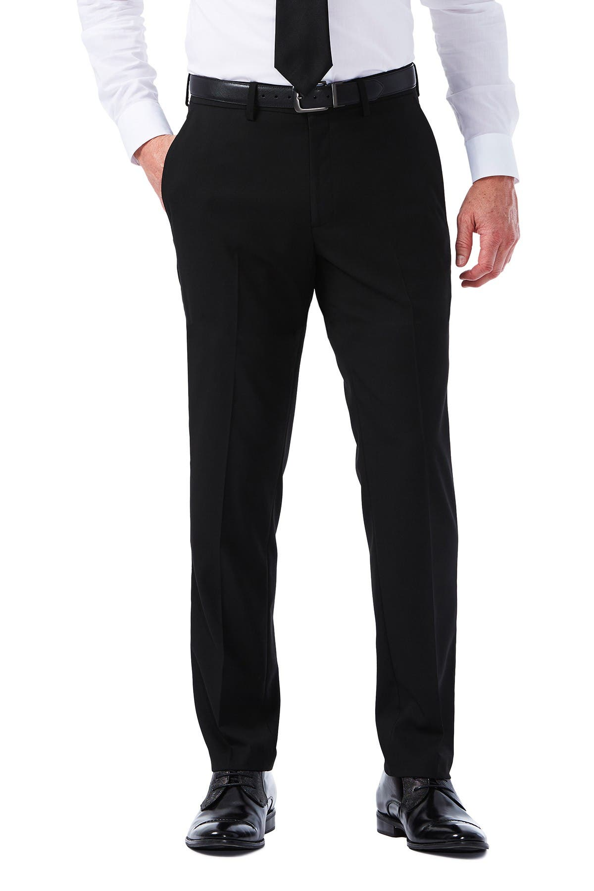 "Image of HAGGAR Sharkskin Stretch Slim Fit Flat Front Suit Separate Pants - 30-34"" Inseam"