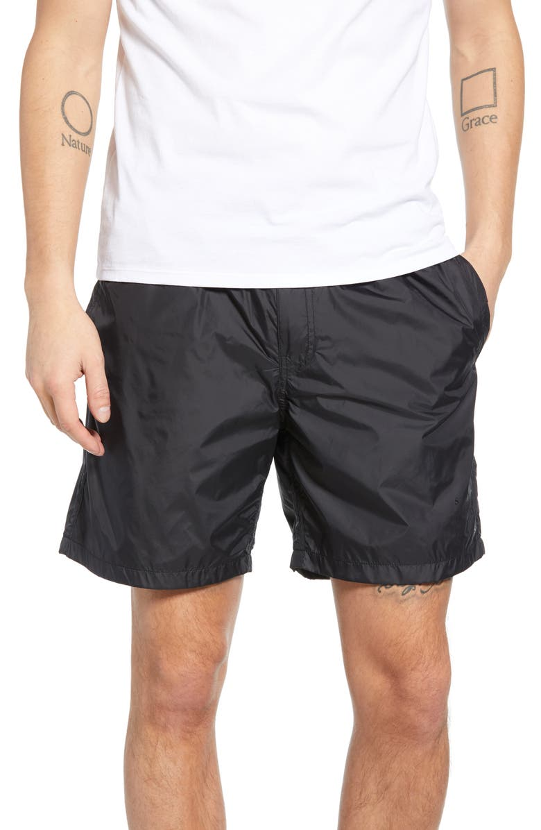 SATURDAYS NYC Trent Hybrid Athletic Shorts, Main, color, BLACK