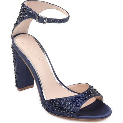 Jewel Badgley Mischka Jillian Crystal Sandal- Blue