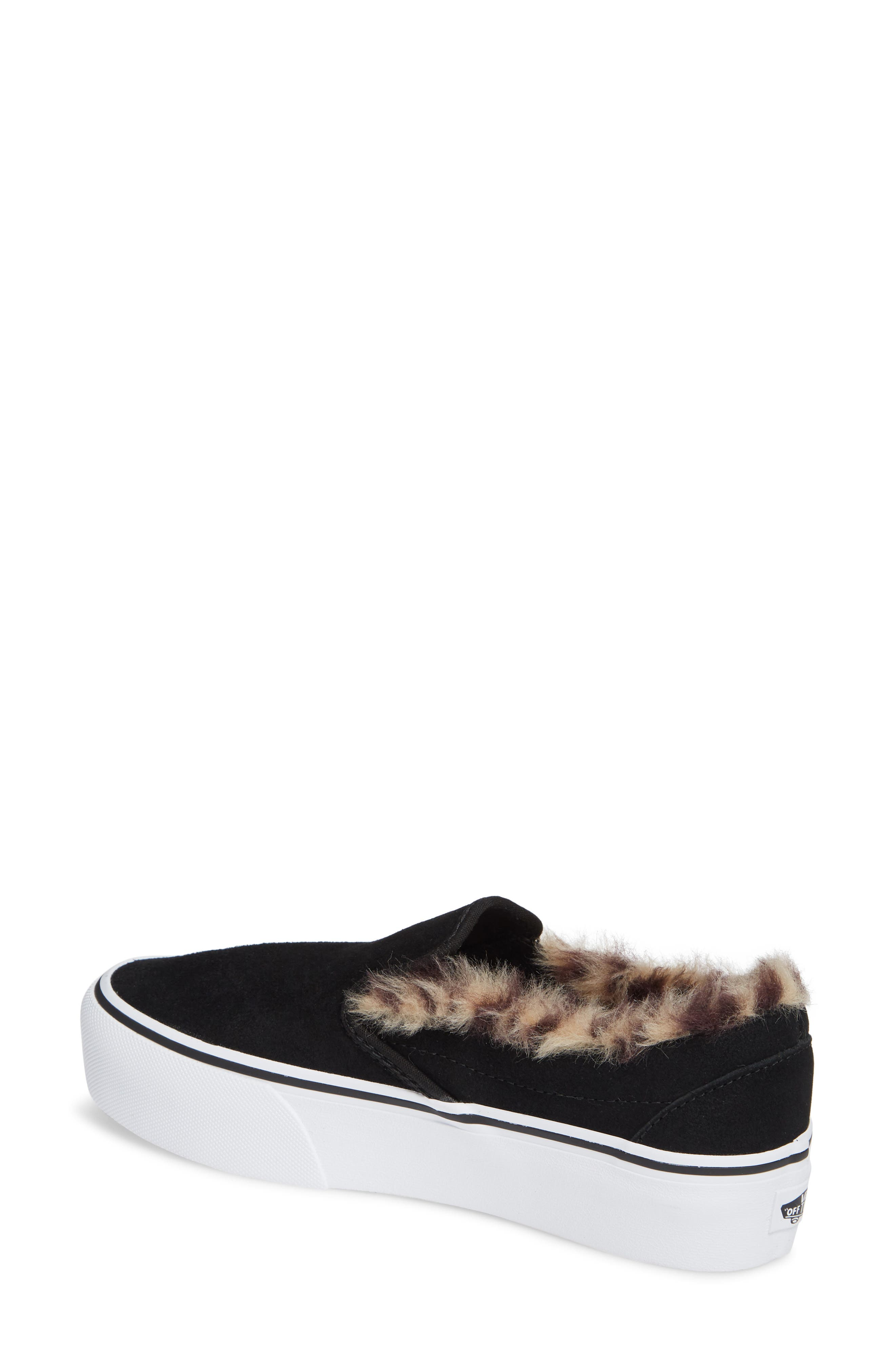 ,                             Classic Faux Fur Slip-On Platform Sneaker,                             Alternate thumbnail 2, color,                             001