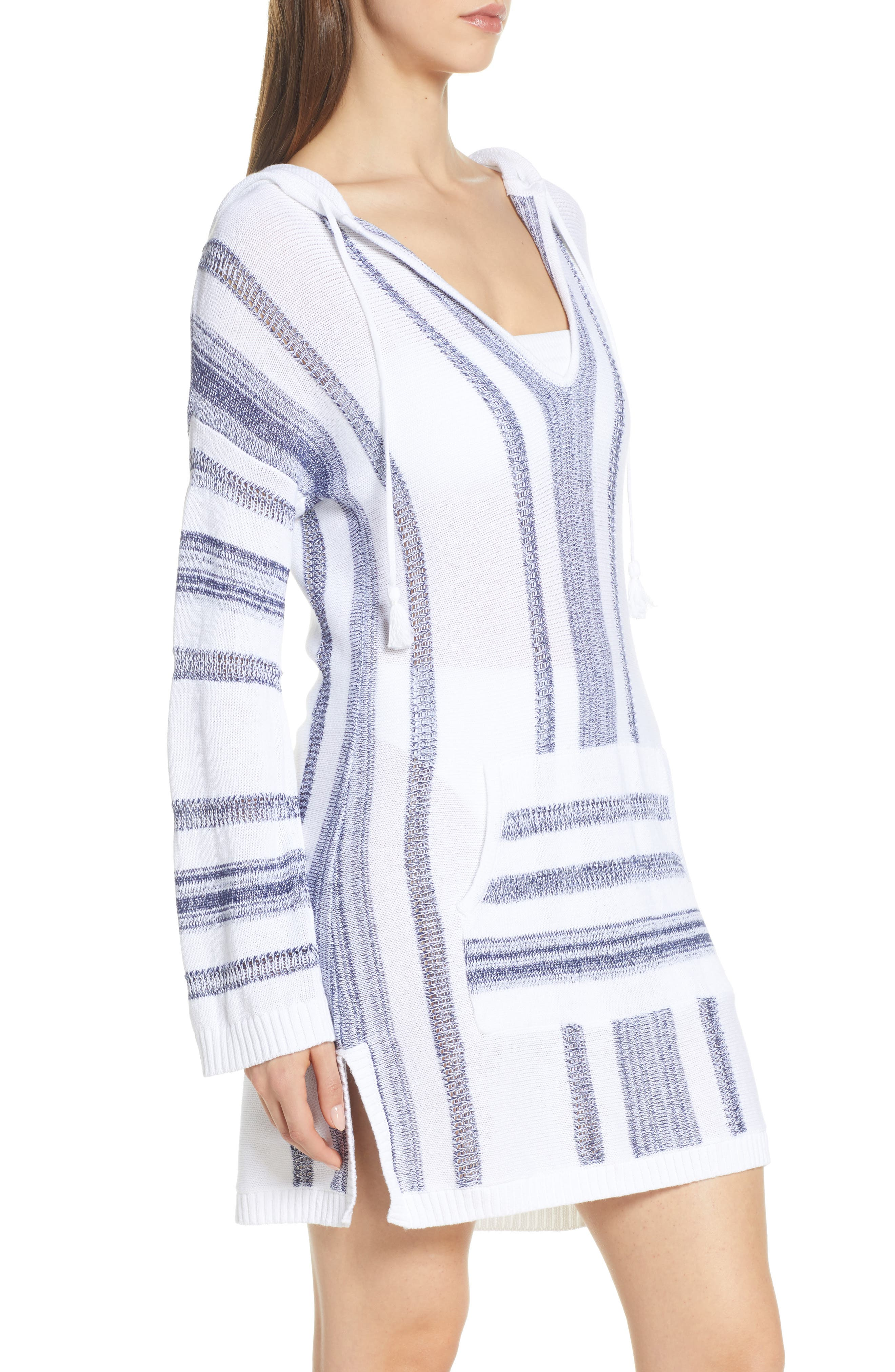 ,                             Baja Hooded Cover-Up Sweater,                             Alternate thumbnail 4, color,                             WHITE/ MARE