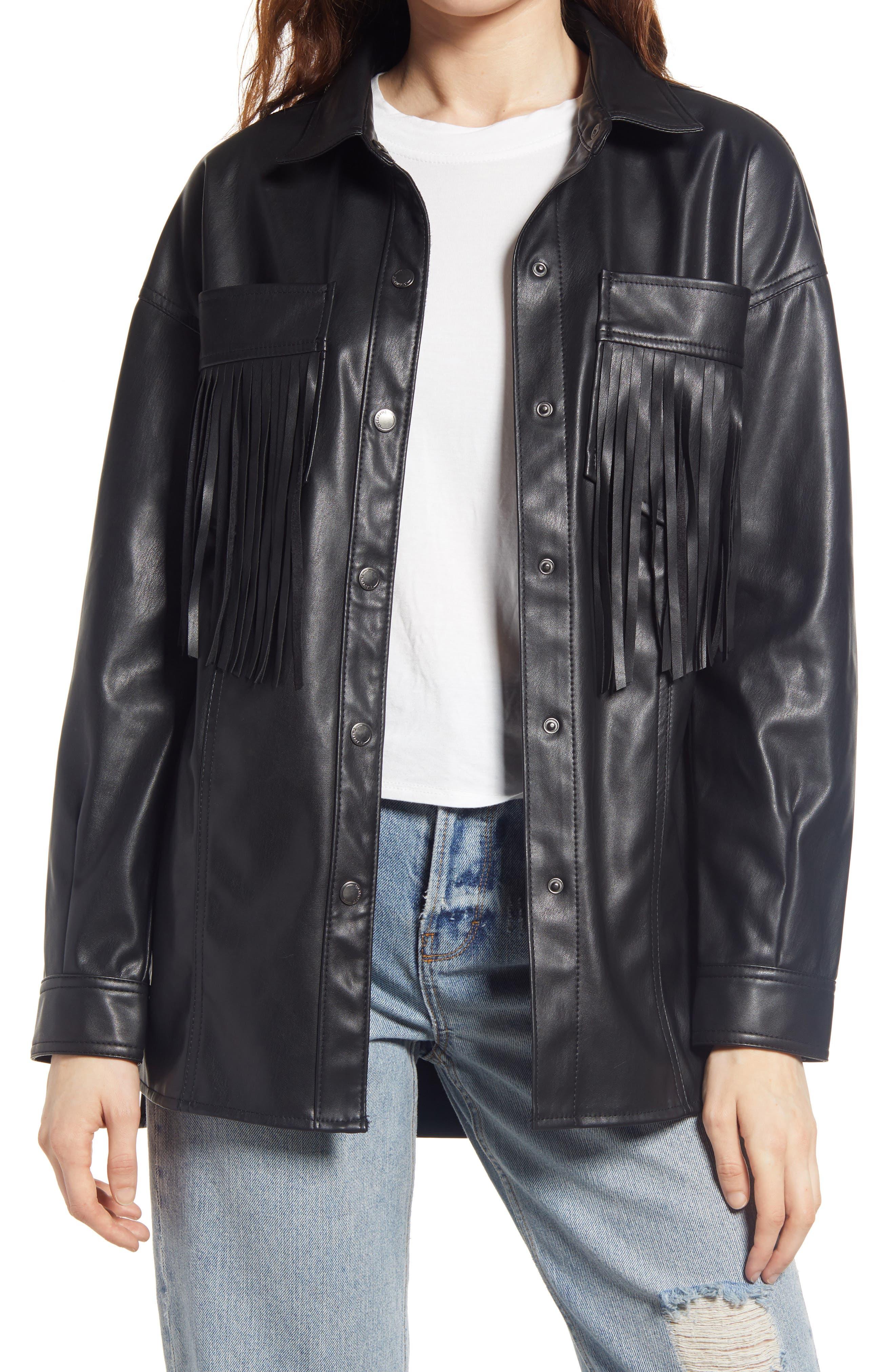 Women's Blanknyc Faux Leather Fringe Shirt Jacket, Size Medium - Black