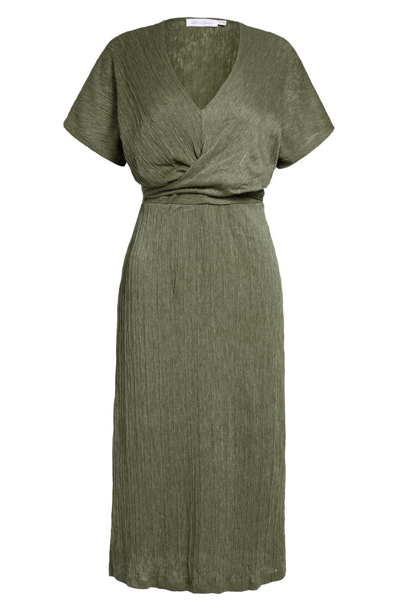 ALL IN FAVOR Phoebe V-Neck Midi Dress, Main, color, OLIVE
