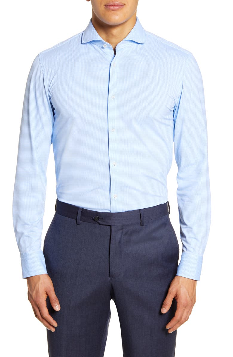 BOSS Slim Fit Check Dress Shirt, Main, color, LIGHT/ PASTEL BLUE