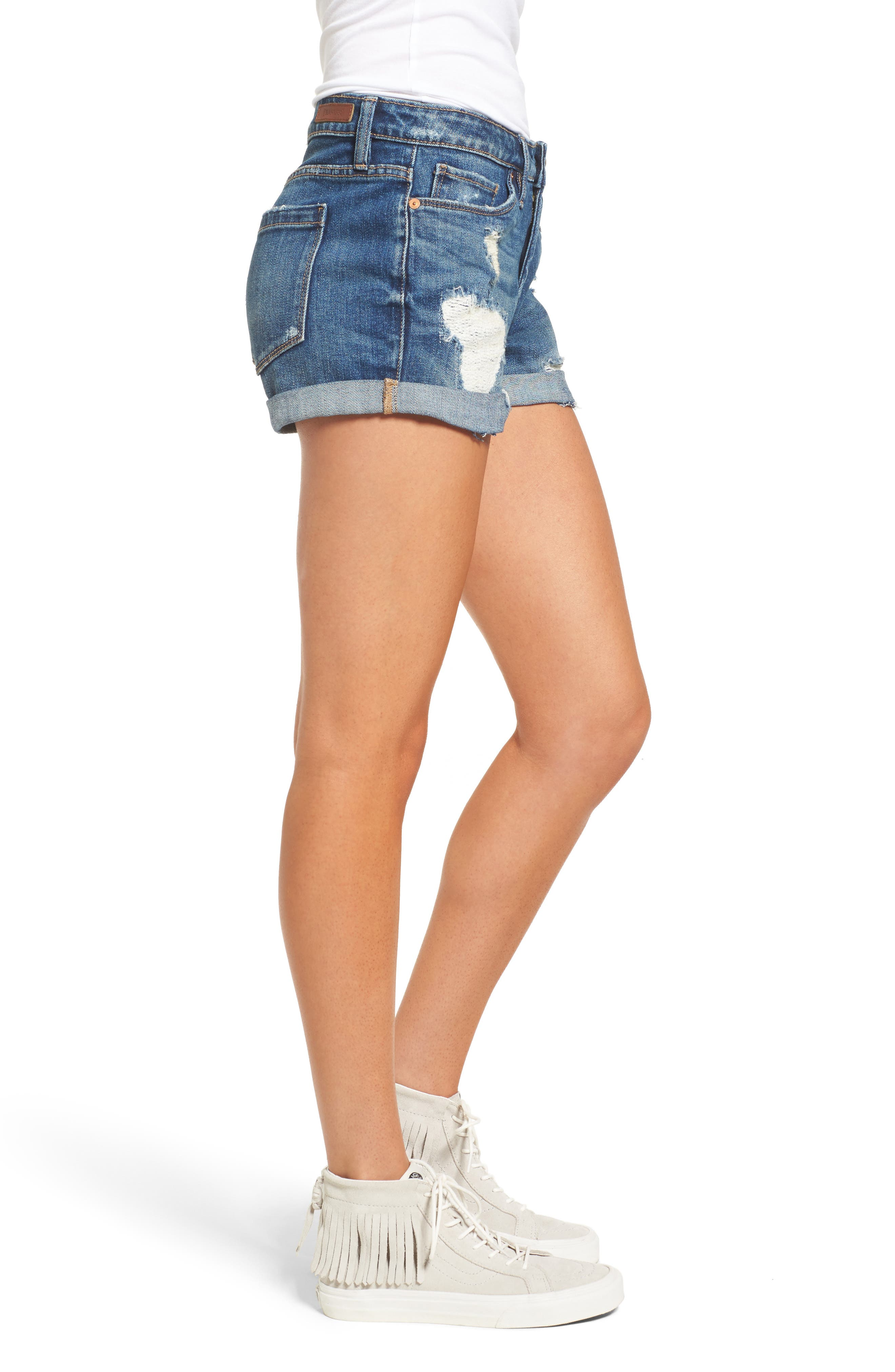 ,                             Boyfriend Denim Shorts,                             Alternate thumbnail 4, color,                             DRESS DOWN