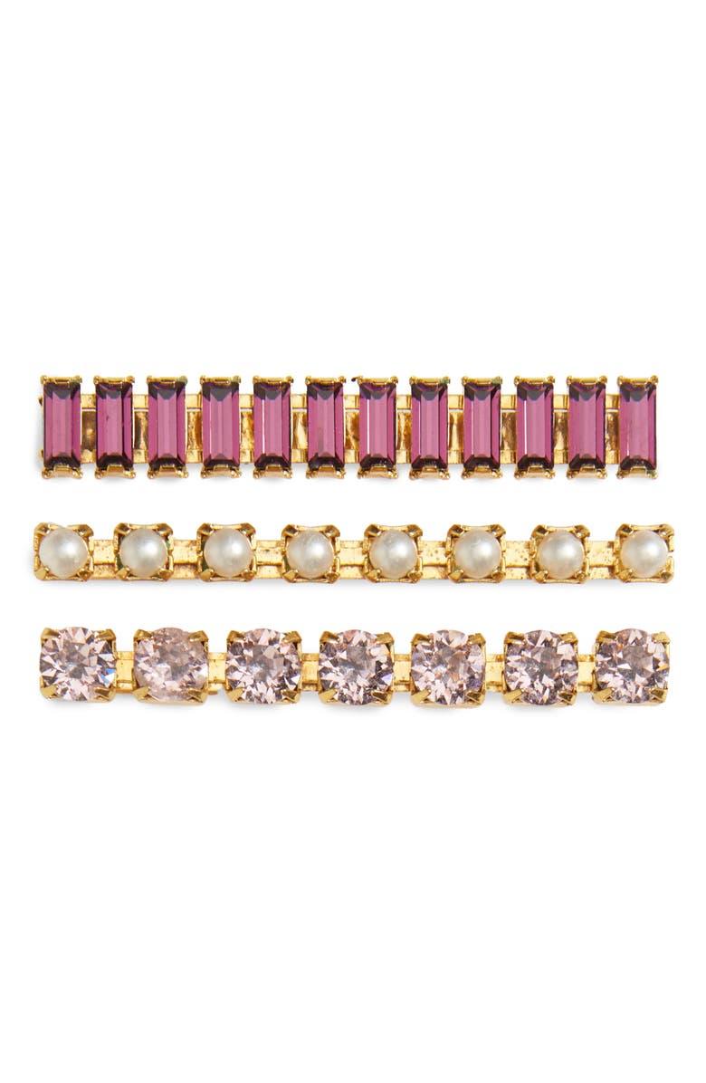 LELET NY 3-Pack Crystal Bobby Pins, Main, color, LILAC/ GOLD