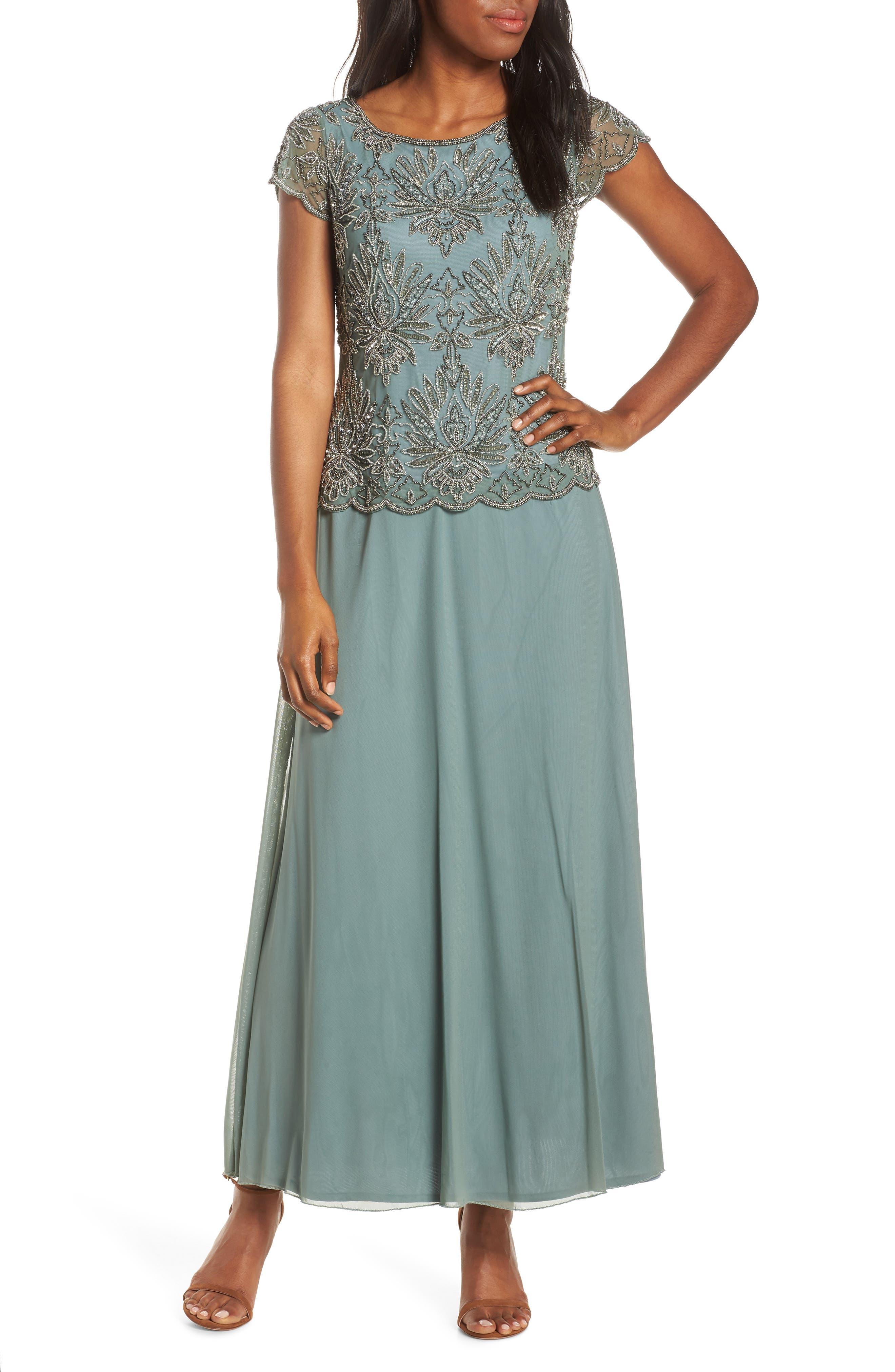 Pisarro Nights Embellished Bodice Evening Dress, Green