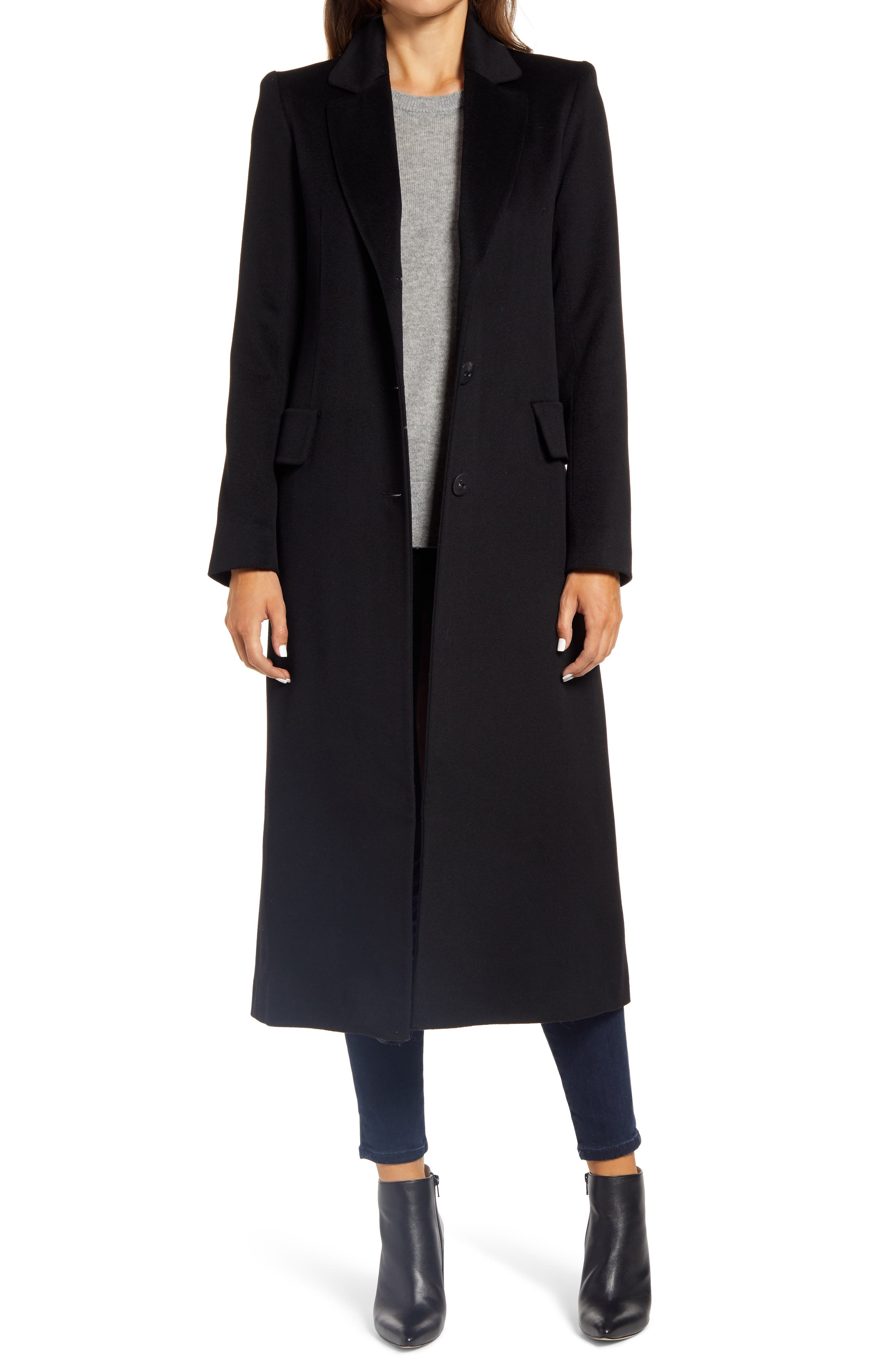 Fleurette Notch Collar Long Wool Coat | Nordstrom