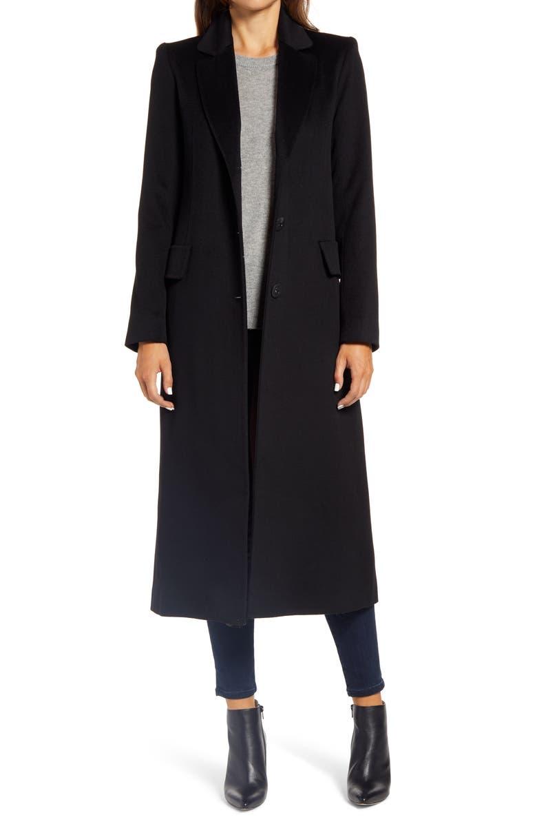 FLEURETTE Notch Collar Long Wool Coat, Main, color, BLACK
