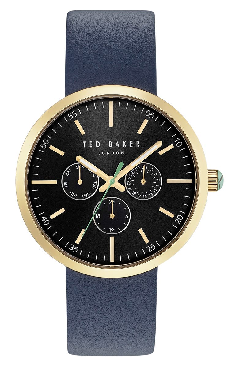 TED BAKER LONDON Jack Multifunction Leather Strap Watch, 42mm, Main, color, 400