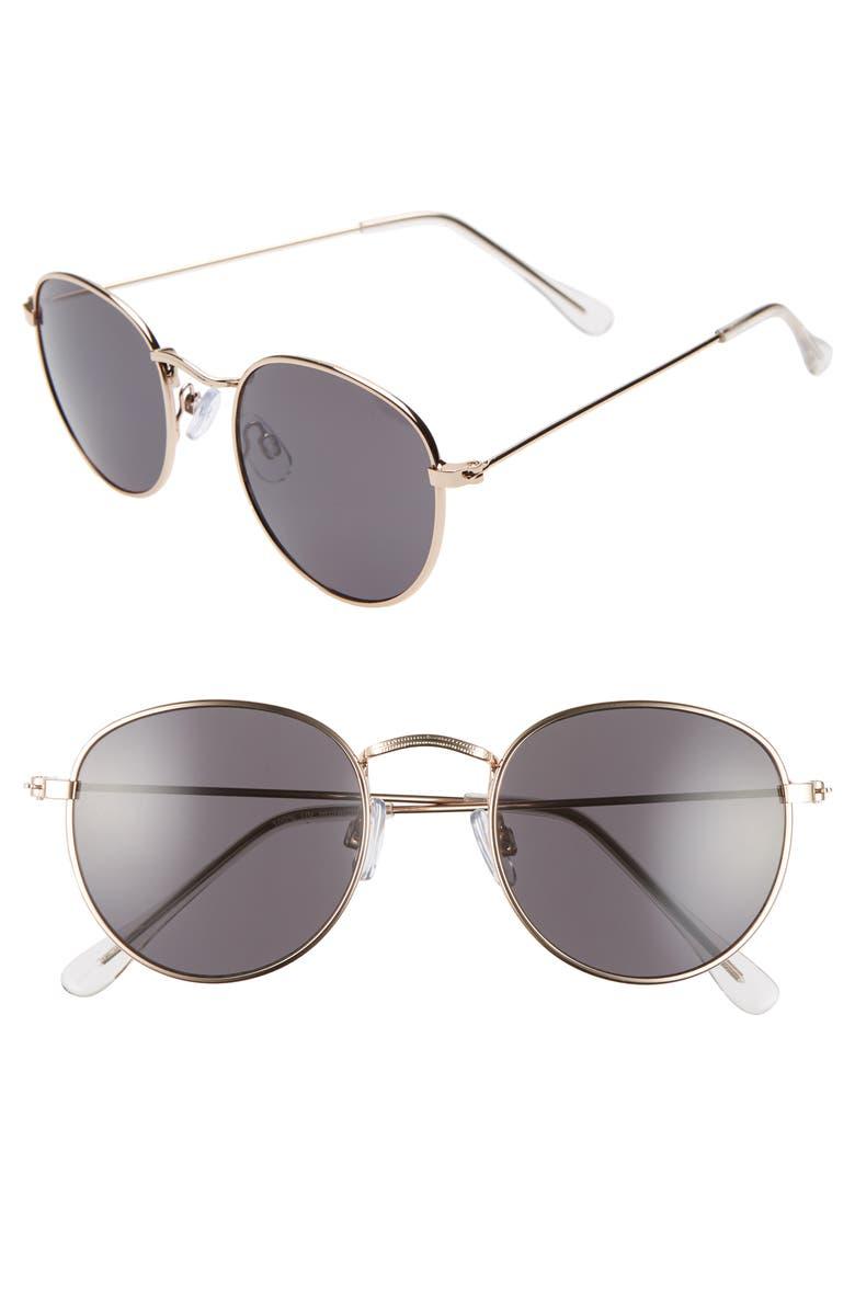 BP. 48mm Round Metal Sunglasses, Main, color, GOLD/ BLACK