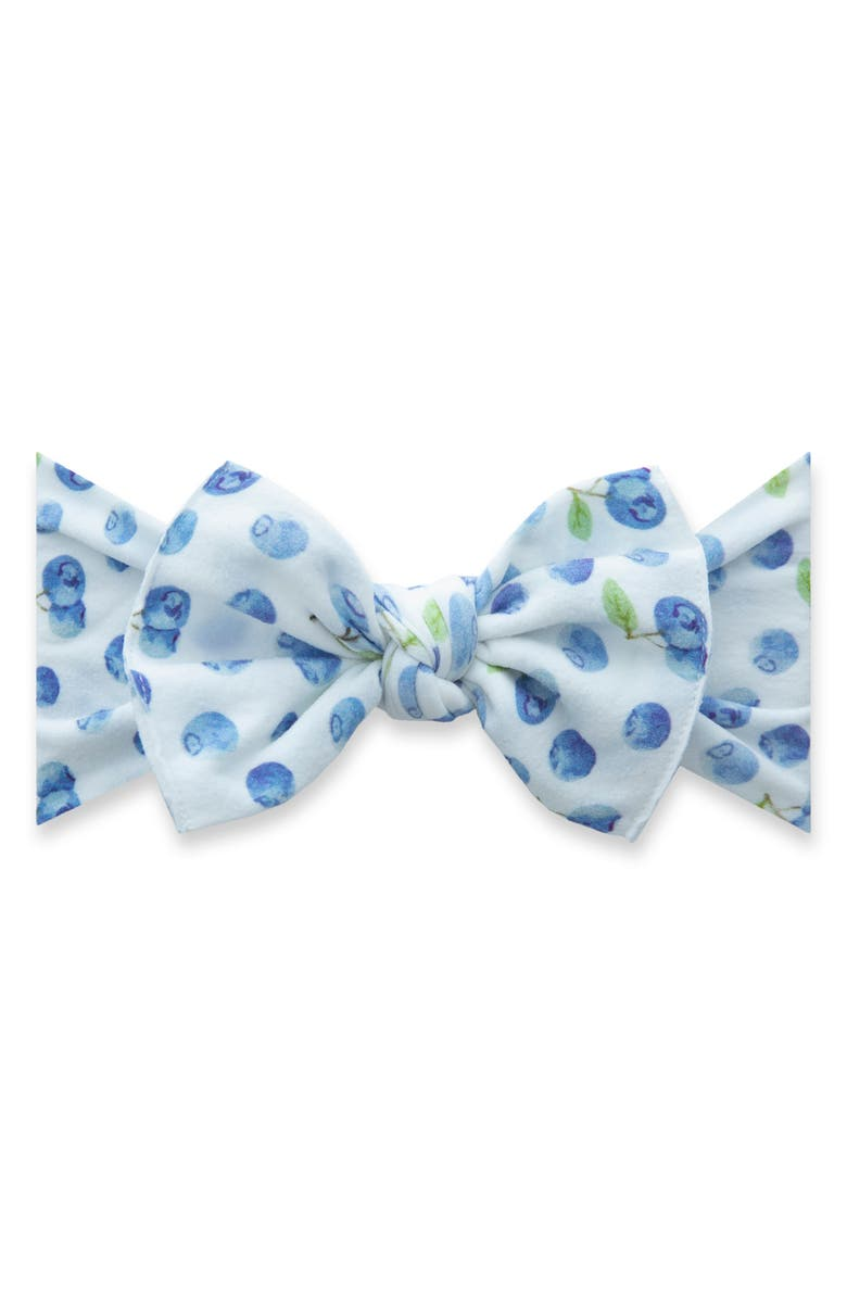 BABY BLING Printed Knot Headband, Main, color, BLUEBERRY