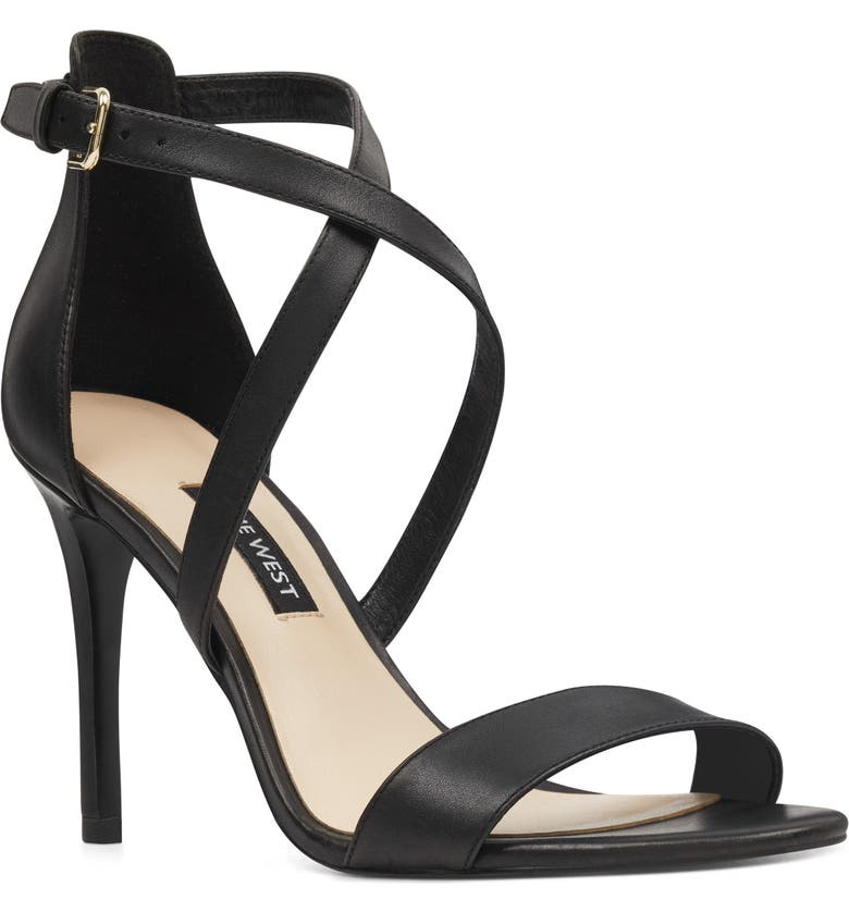 NINE WEST Mydebut Strappy Sandal, Main, color, BLACK LEATHER