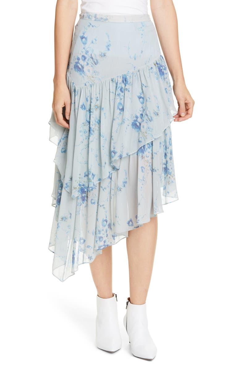 LOVESHACKFANCY Rowan Asymmetrical Ruffle Silk Skirt, Main, color, CELESTIA