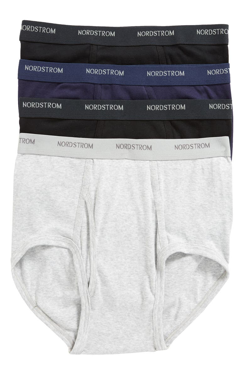 NORDSTROM MEN'S SHOP Nordstrom Mens Shop 4-Pack Supima<sup>®</sup> Cotton Briefs, Main, color, BLACK/ NAVY/ GREY