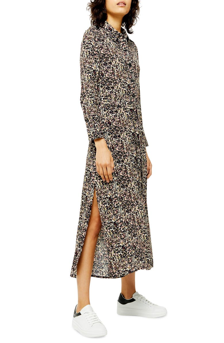TOPSHOP Long Sleeve Open Back Floral Shirtdress, Main, color, BLACK MULTI