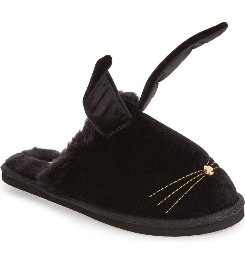 KATE SPADE NEW YORK 'bonnie - bunny' velvet slipper, Main, color, 001