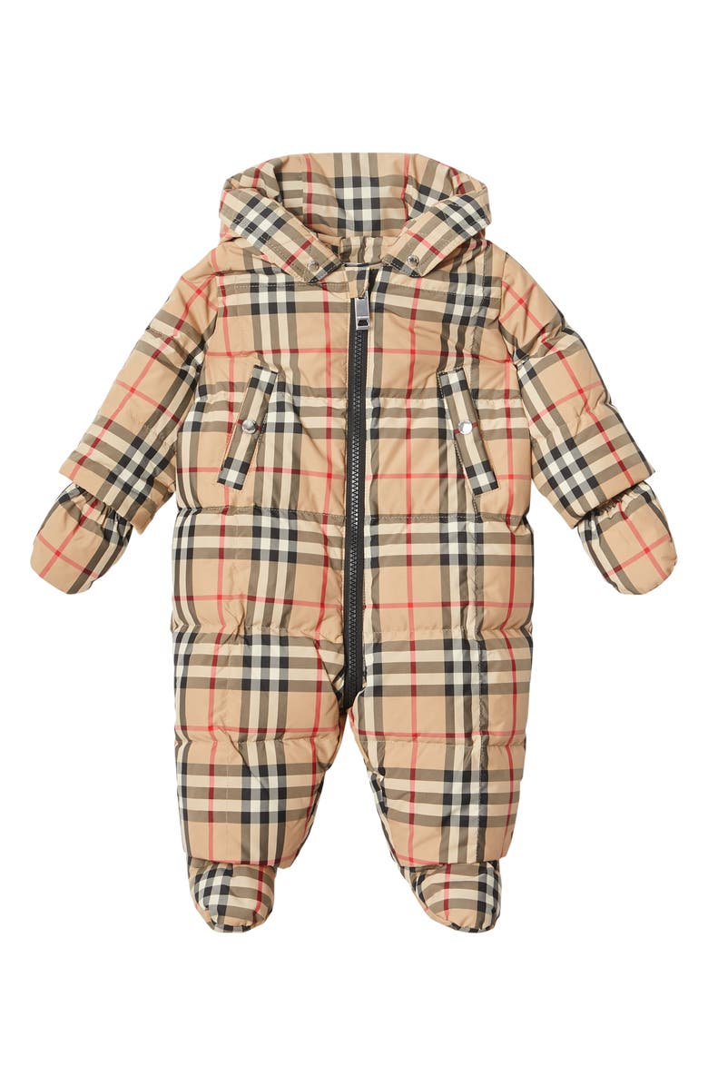 BURBERRY Skylar Vintage Check Down Snowsuit, Main, color, ARCHIVE BEIGE