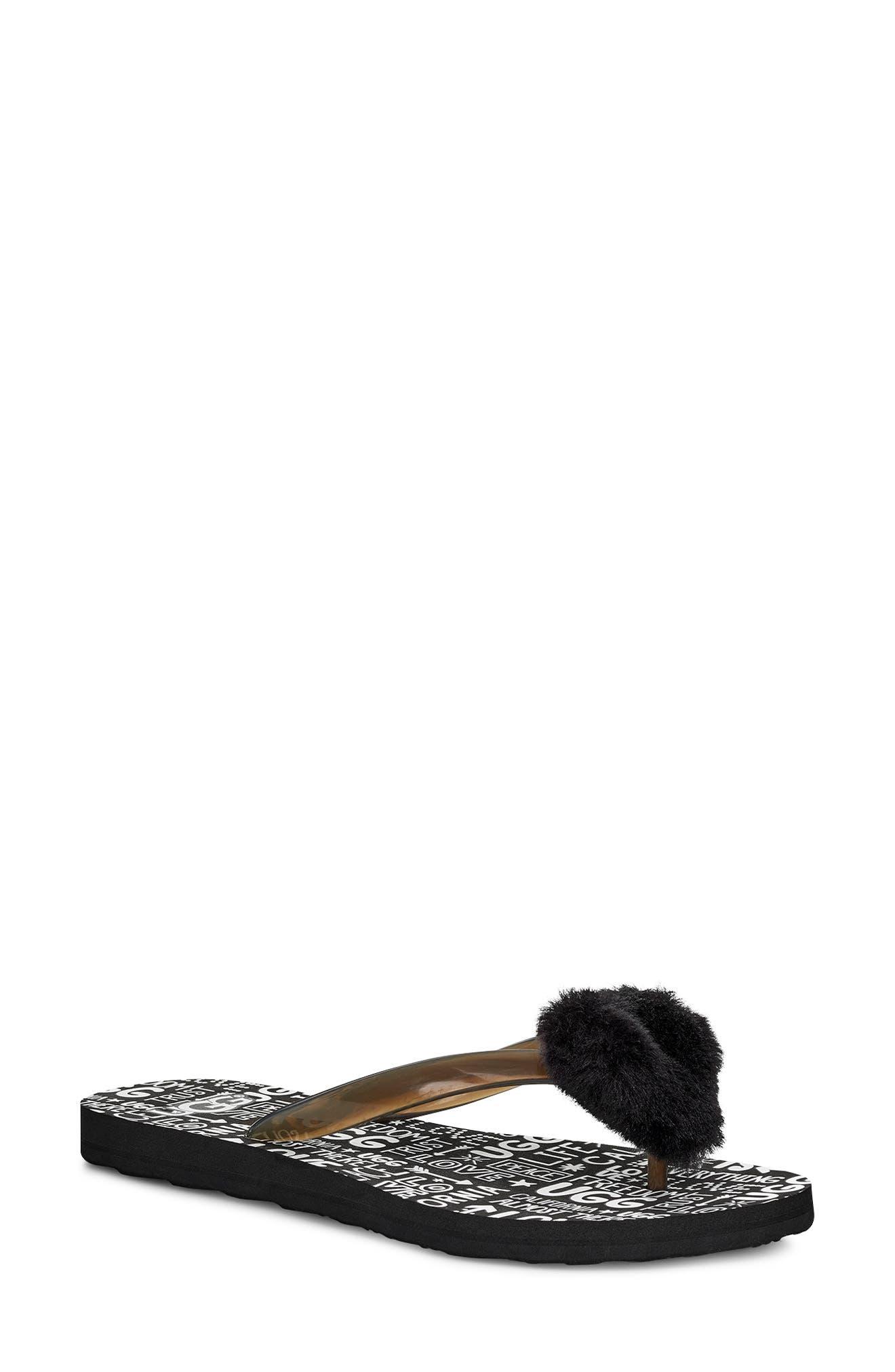 ,                             Simi Fluff Manifesto Flip Flop with Genuine Shearling Trim,                             Main thumbnail 1, color,                             BLACK RUBBER